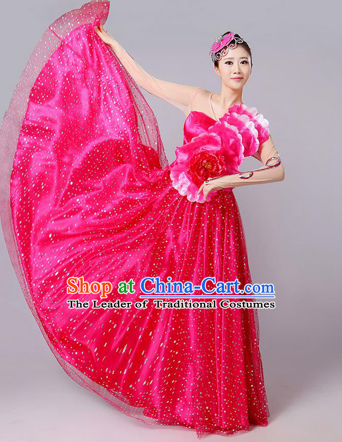 Traditional Chinese Modern Dancing Compere Costume, Women Opening Classic Dance Chorus Singing Group Bubble Peony Uniforms, Modern Dance Classic Dance Big Swing Rose Long Dress for Women