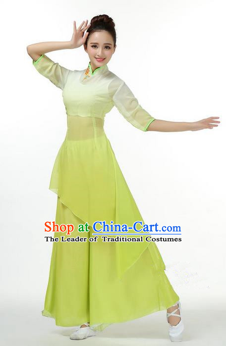 Traditional Chinese Yangge Fan Dancing Costume, Folk Dance Yangko Mandarin Collar Green Uniforms, Classic Umbrella Dance Elegant Big Swing Dress Drum Dance Clothing for Women