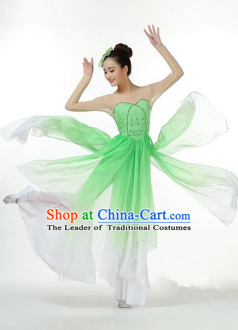 Traditional Chinese Yangge Fan Dancing Costume, Folk Dance Yangko Mandarin Collar Paillette Green Uniforms, Classic Umbrella Dance Elegant Big Swing Dress Drum Dance Clothing for Women