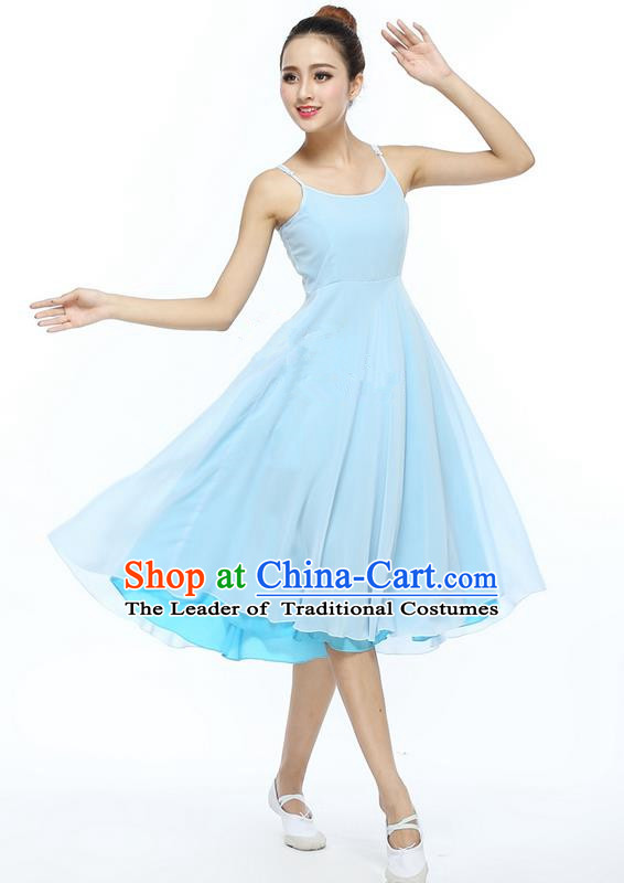 Traditional Modern Dancing Compere Costume, Women Opening Classic Chorus Singing Group Dance Dress, Modern Dance Classic Ballet Dance Blue Dress for Women