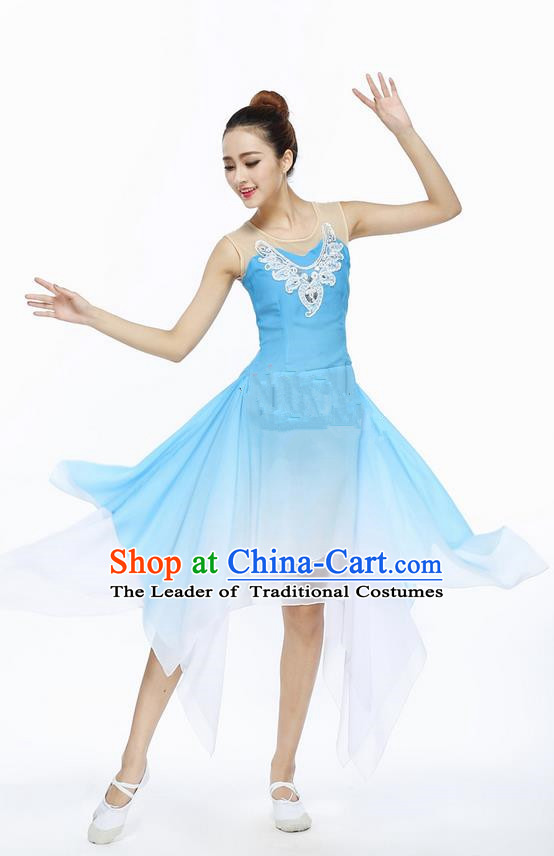 Traditional Modern Dancing Compere Costume, Women Opening Classic Chorus Singing Group Dance Dress, Modern Dance Classic Ballet Dance Blue Paillette Dress for Women