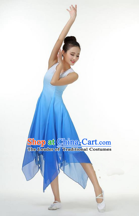 Traditional Modern Dancing Costume, Women Opening Classic Chorus Singing Group Dance Dress, Modern Dance Classic Ballet Dance Blue Paillette Dress for Women