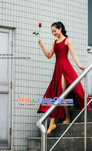 Traditional Modern Dancing Costume, Women Opening Classic Chorus Singing Group Dance Dress, Modern Dance Classic Ballet Dance Red Dress for Women