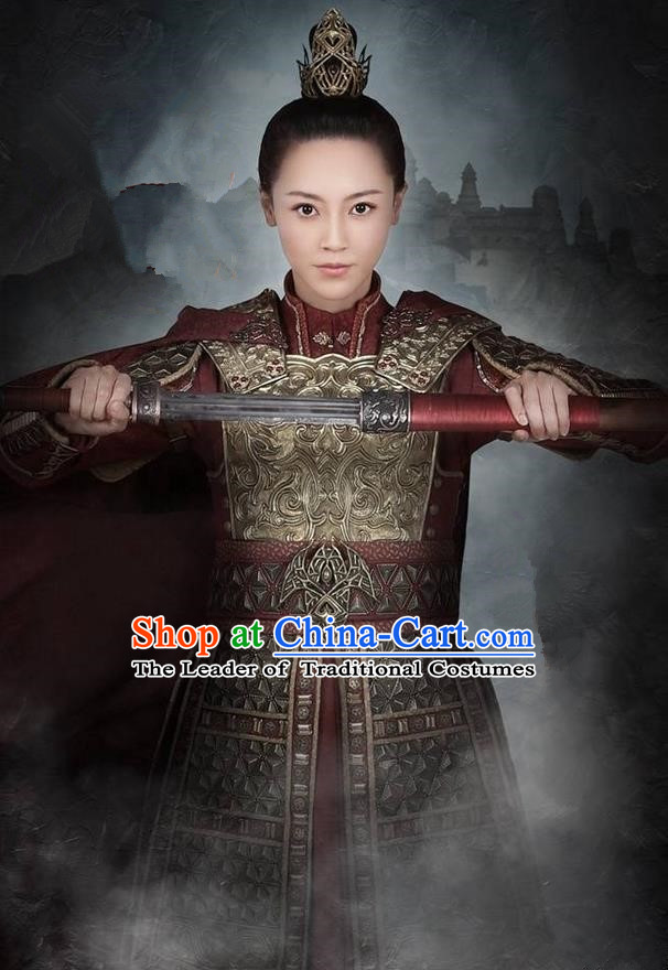 Traditional Ancient Chinese Female General Costume, Elegant Hanfu Western Wei Dynasty Swordsman Clothing, Chinese Northern Dynasties Aristocratic Strategos Corselet Clothing for Women