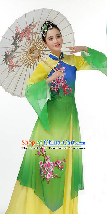 Traditional Chinese Yangge Fan Dancing Costume, Folk Dance Yangko Mandarin Sleeve Painting Plum Blossom Uniforms, Classic Dance Elegant Big Swing Dress Drum Dance Pink Clothing for Women