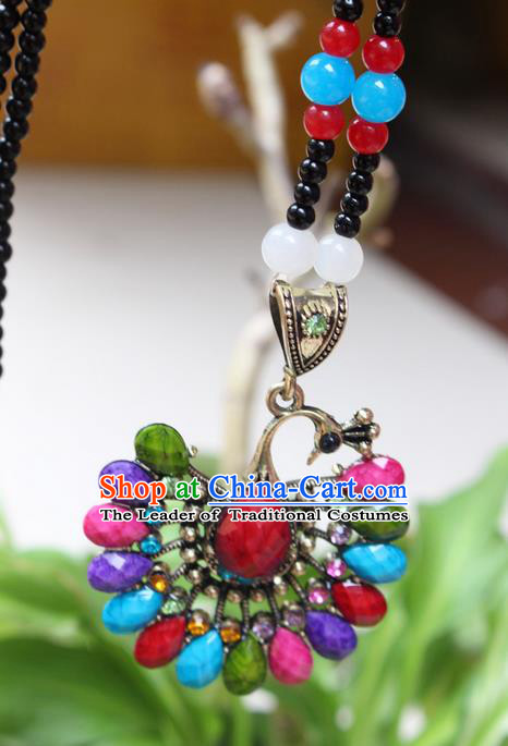 Traditional Chinese Miao Nationality Crafts Jewelry Accessory, Hmong Handmade Palace Peacock Beads Pendant, Miao Ethnic Minority Necklace Accessories Sweater Chain Pendant for Women