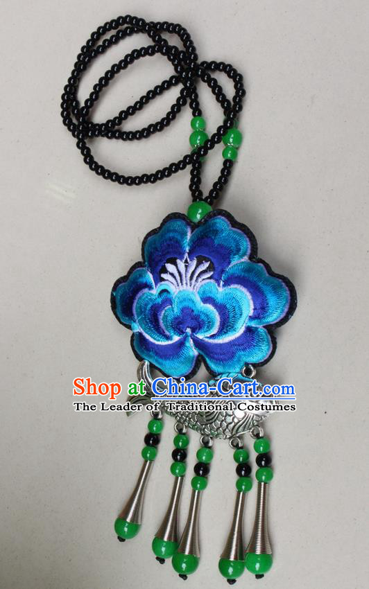 Traditional Chinese Miao Nationality Crafts Jewelry Accessory, Hmong Handmade Miao Silver Fish Beads Tassel Embroidery Peony Pendant, Miao Ethnic Minority Necklace Accessories Sweater Chain Pendant for Women
