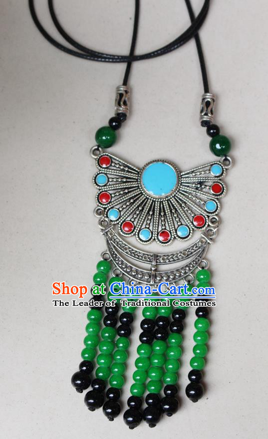 Traditional Chinese Miao Nationality Crafts Jewelry Accessory, Hmong Handmade Miao Silver Beads Tassel Pendant, Miao Ethnic Minority Black Rope Necklace Accessories Sweater Chain Pendant for Women