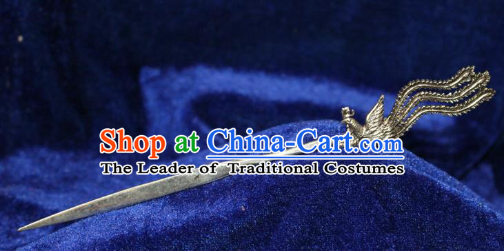 Traditional Chinese Miao Nationality Crafts Jewelry Accessory Classical Hair Accessories, Hmong Handmade Miao Silver Phoenix Palace Lady Hair Sticks Hair Claw, Miao Ethnic Minority Hair Fascinators Hairpins for Women