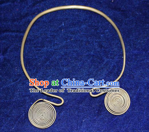 Traditional Chinese Miao Nationality Crafts Jewelry Accessory, Hmong Handmade Miao Silver Collar, Miao Ethnic Minority Palace Silver Necklace for Women