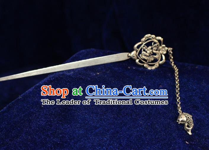 Traditional Chinese Miao Nationality Crafts Jewelry Accessory Hair Accessories, Hmong Handmade Miao Silver Palace Fish Tassel Hair Sticks Hair Claw, Miao Ethnic Minority Hair Fascinators Hairpins for Women