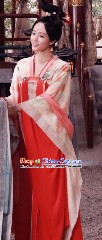 Traditional Ancient Chinese Imperial Consort Costume, Elegant Hanfu Palace Concubine Dress, Chinese Tang Dynasty Imperial Princess Tailing Clothing for Women