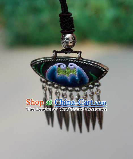 Traditional Chinese Miao Nationality Crafts Jewelry Accessory, Hmong Handmade Miao Silver Tassel Embroidery Flowers Pendant, Miao Ethnic Minority Bells Necklace Accessories Sweater Chain Pendant for Women