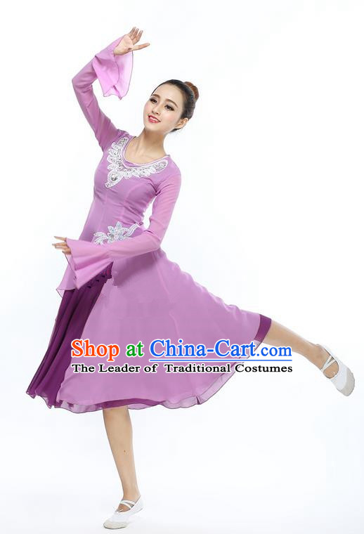 Traditional Modern Dancing Compere Costume, Women Opening Classic Chorus Singing Group Dance Dress, Modern Dance Classic Ballet Dance Purple Dress for Women