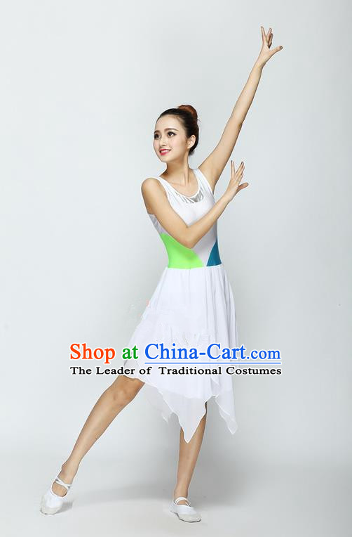 Traditional Modern Dancing Compere Costume, Women Opening Classic Chorus Singing Group Dance Dress, Modern Dance Classic Ballet Dance Green Dress for Women