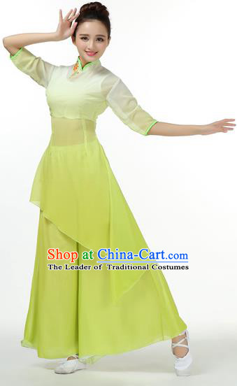 Traditional Chinese Yangge Fan Dancing Costume, Folk Dance Yangko Mandarin Sleeve Uniforms, Classic Umbrella Dance Elegant Big Swing Dress Drum Dance Green Clothing for Women