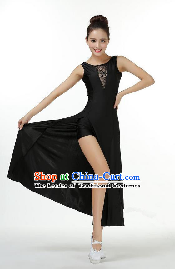Traditional Modern Dancing Compere Costume, Women Opening Classic Chorus Singing Group Dance Dress, Modern Dance Classic Ballet Dance Black Dress for Women