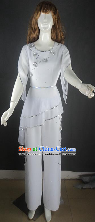 Traditional Chinese Yangge Fan Dancing Costume, Folk Dance Yangko Uniforms, Classic Umbrella Dance Elegant Big Swing Dress Drum Dance White Clothing for Women