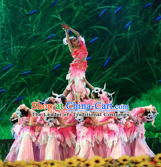 Traditional Chinese Dai Nationality Peacock Dancing Costume, Folk Dance Ethnic Paillette Fishtail Dress Palace Princess Uniform, Chinese Minority Nationality Dancing Pink Clothing for Kids