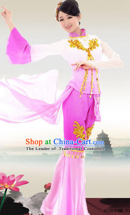 Traditional Chinese Yangge Fan Dancing Costume, Folk Dance Yangko Blouse and Pants Uniforms, Classic Umbrella Dance Elegant Dress Drum Dance Pink Clothing for Women