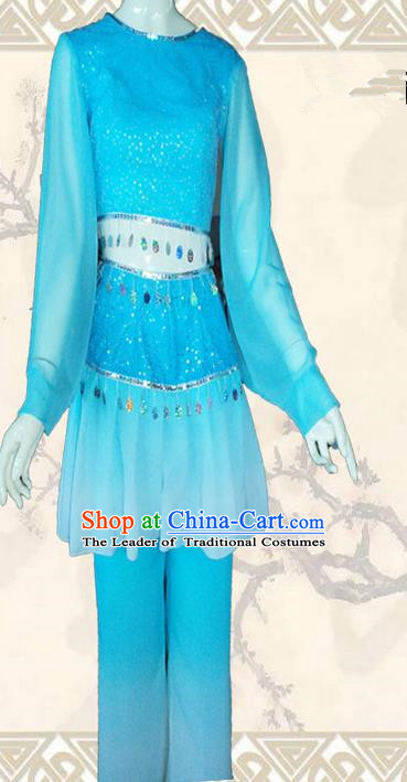 Traditional Chinese Yangge Fan Dancing Costume, Folk Dance Yangko Blouse and Pants Uniforms, Classic Umbrella Dance Elegant Dress Drum Dance Blue Clothing for Women