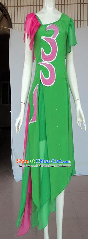 Traditional Chinese Yangge Fan Dancing Costume, Folk Dance Yangko Mandarin Sleeve Blouse and Pants Uniforms, Classic Umbrella Lotus Dance Elegant Dress Drum Dance Green Clothing for Women