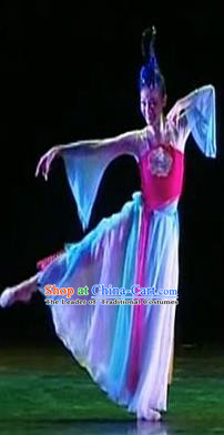 Traditional Chinese Ancient Yangge Fan Dancing Costume, Folk Dance Wide Sleeve Peony Uniforms, Classic Tang Dynasty Flying Dance Elegant Fairy Dress Drum Palace Lady Dance Clothing for Women