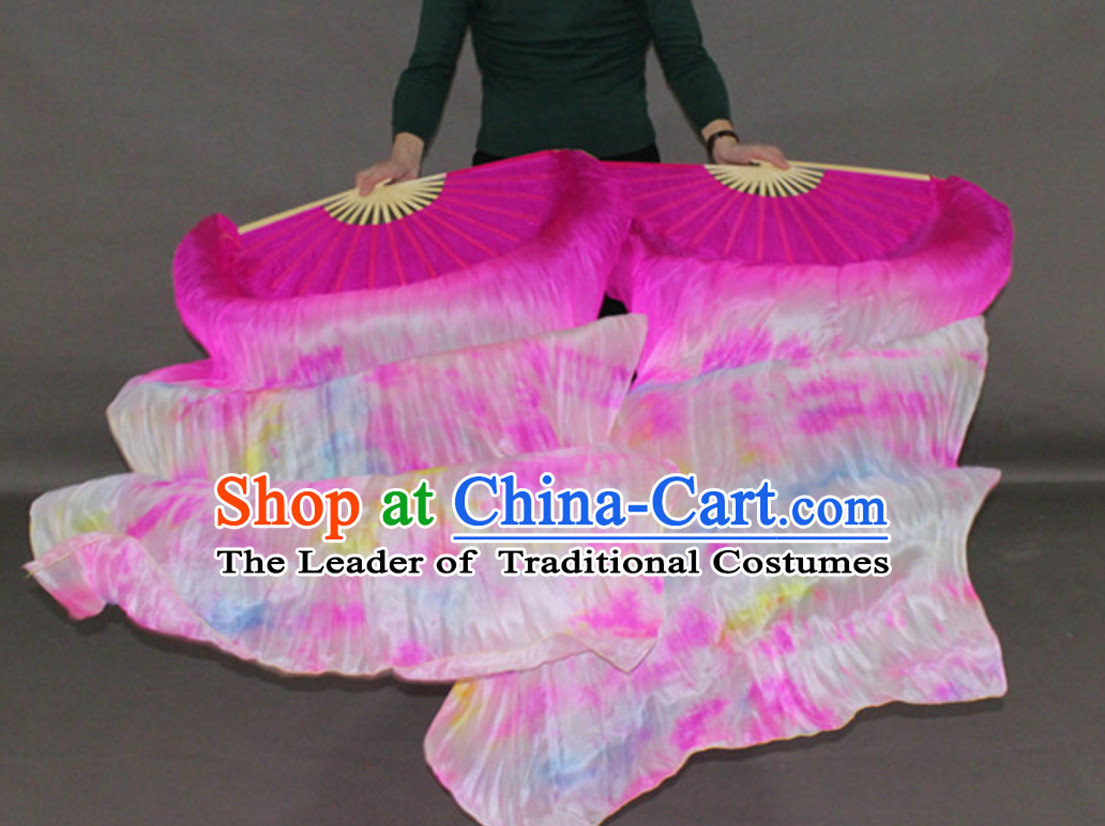 1.8M Belly Dance Fan Bamboo Long Silk Dance Fans Veil Fans