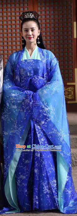 Traditional Ancient Chinese Imperial Empress Costume, Elegant Hanfu Western Wei Dynasty Clothing, Chinese Northern Dynasties Imperial Queen Embroidered Tailing Blue Clothing for Women
