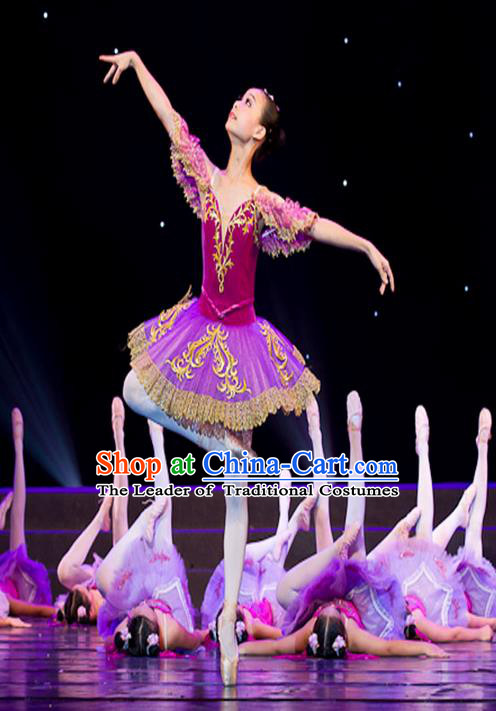 Traditional Modern Dancing Compere Costume, Women Opening Classic Chorus Singing Group Dance Bubble Dress Tu Tu Dancewear, Modern Dance Classic Ballet Dance Purple Veil Dress for Kids