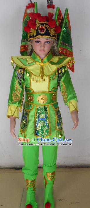 Traditional Chinese Peking Opera KnifeHorseDawn Costume and Hat Complete Set, Folk Dance Yangko Uniforms, Classic Umbrella Dance Elegant Dress Drum Dance Green Clothing for Kids