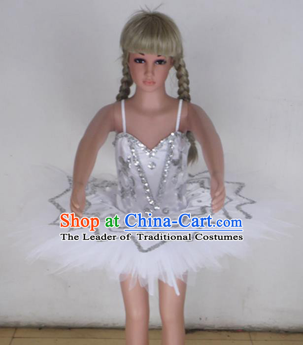 Traditional Modern Dancing Compere Costume, Children Opening Classic Chorus Singing Group Dance Bubble Dress Tu Tu Dancewear, Modern Dance Classic Ballet Dance White Veil Dress for Kids