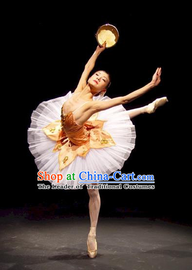 Traditional Modern Dancing Compere Costume, Opening Classic Chorus Singing Group Dance Bubble Dress Tu Tu Dancewear, Modern Dance Classic Ballet Dance White Elegant Dress for Women