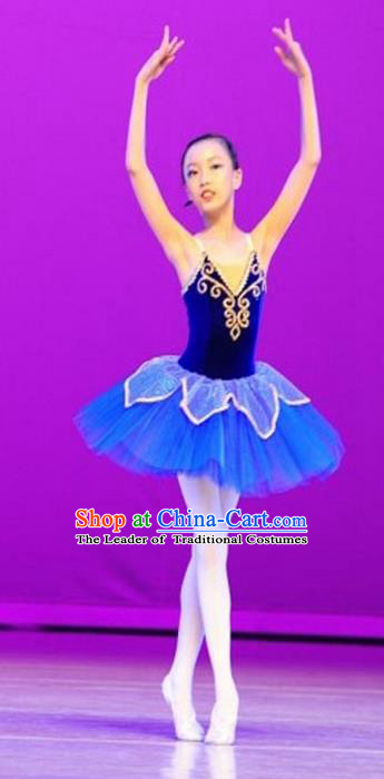Traditional Modern Dancing Compere Costume, Opening Classic Chorus Singing Group Dance Bubble Dress Tu Tu Dancewear, Modern Dance Classic Ballet Dance Blue Elegant Veil Dress for Women