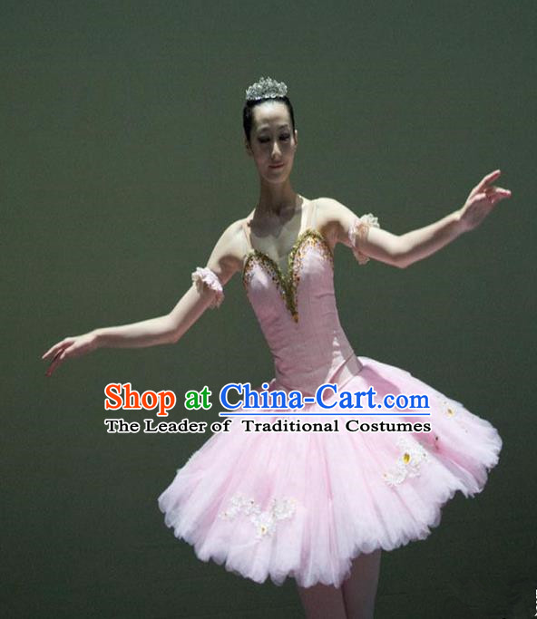 Traditional Modern Dancing Compere Costume, Opening Classic Chorus Singing Group Dance Bubble Dress Tu Tu Dancewear, Modern Dance Classic Ballet Dance Pink Elegant Veil Dress for Women