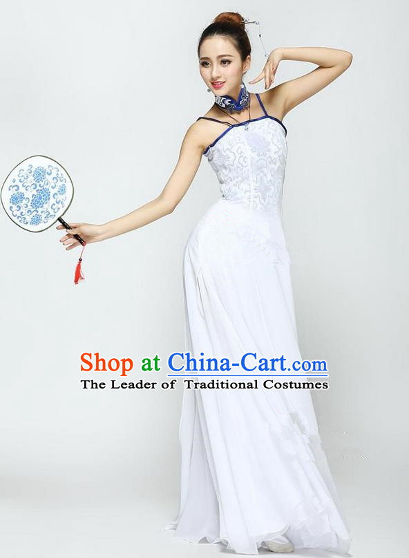 Traditional Chinese Yangge Fan Dancing Costume, Folk Dance Yangko Uniforms, Classic Jasmine Flower Dance Dress Elegant Drum Dance Cheongsam Clothing for Women