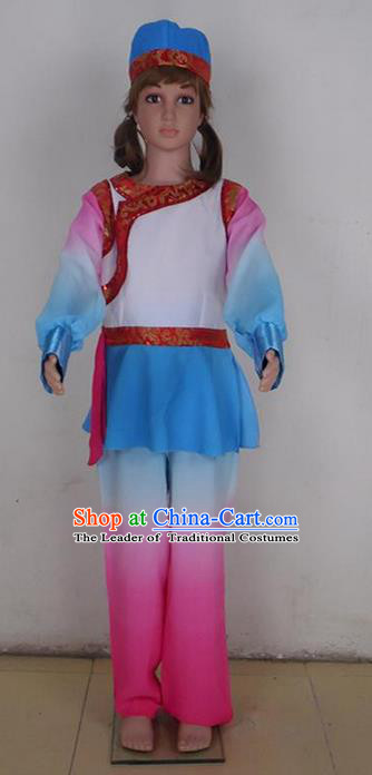 Traditional Chinese Yangge Fan Dancing Costume, Folk Dance Yangko Blouse and Pants Uniforms, Classic Lotus Solo Dance Elegant Dress Drum Dance Clothing for Kids