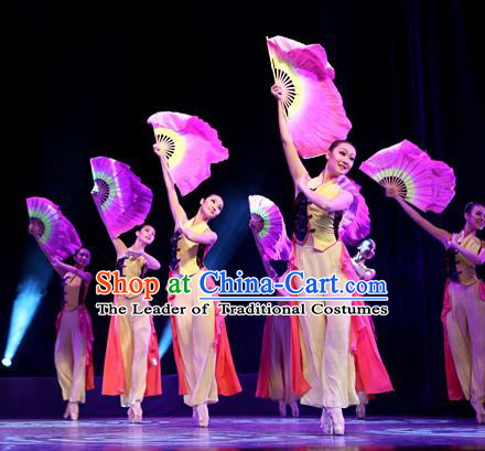 Traditional Chinese Yangge Fan Dancing Costume, Folk Dance Yangko Uniforms, Classic Jasmine Flower Dance Dress Elegant Drum Dance Clothing for Women