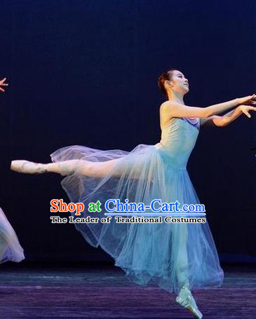 Traditional Modern Dancing Compere Costume, Female Opening Classic Chorus Singing Group Dance Blue Bell Dress Tu Tu Dancewear, Modern Dance Classic Ballet Dance Elegant Dress for Women