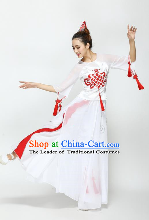 Traditional Chinese Yangge Fan Dancing Costume, Folk Dance Yangko Chinese Knot Tassel Uniforms, Classic Umbrella Dance Elegant Dress Drum Dance Clothing for Women