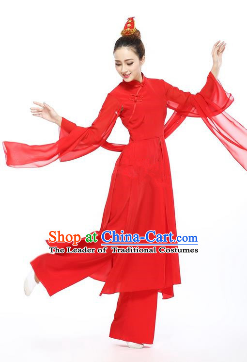 Traditional Chinese Yangge Fan Dancing Costume, Folk Dance Yangko Chinese Red Blouse and Pants Uniforms, Classic Umbrella Dance Elegant Dress Drum Dance Clothing for Women