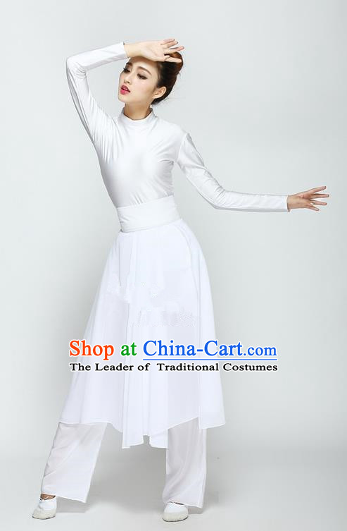 Traditional Chinese Yangge Fan Dancing Costume, Folk Dance Yangko Uniforms, Classic Modern Umbrella Dance Big Swing White Dress Elegant Drum Dance Clothing for Women