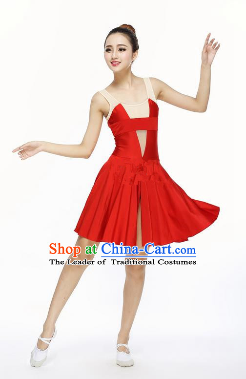 Traditional Modern Dancing Costume, Female Opening Classic Chorus Singing Group Dance Red Big Swing Dress Tu Tu Dancewear, Modern Dance Classic Ballet Dance Elegant Dress for Women