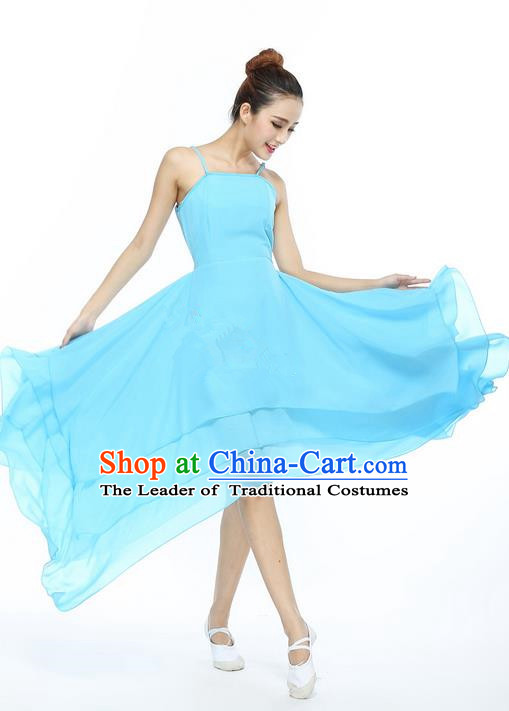 Traditional Modern Dancing Compere Costume, Female Opening Classic Chorus Singing Group Dance Blue Bell Dress Tu Tu Dancewear, Modern Dance Classic Ballet Dance Elegant Big Swing Dress for Women