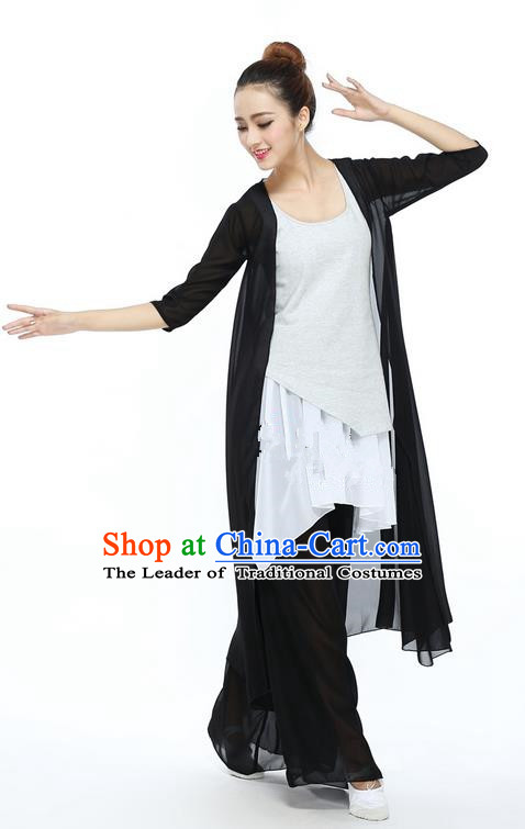 Traditional Modern Dancing Compere Costume, Female Opening Classic Chorus Singing Group Dance Black Cloak and Blouse and Pants Dancewear, Modern Dance Classic Ballet Dance Elegant Clothing for Women