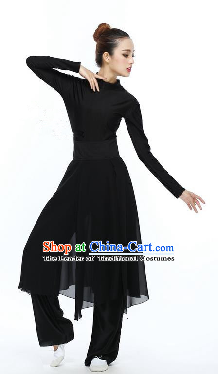 Traditional Modern Dancing Compere Costume, Female Opening Classic Chorus Singing Group Dance Black Blouse and Pants Dancewear, Modern Dance Dress Classic Ballet Dance Elegant Clothing for Women