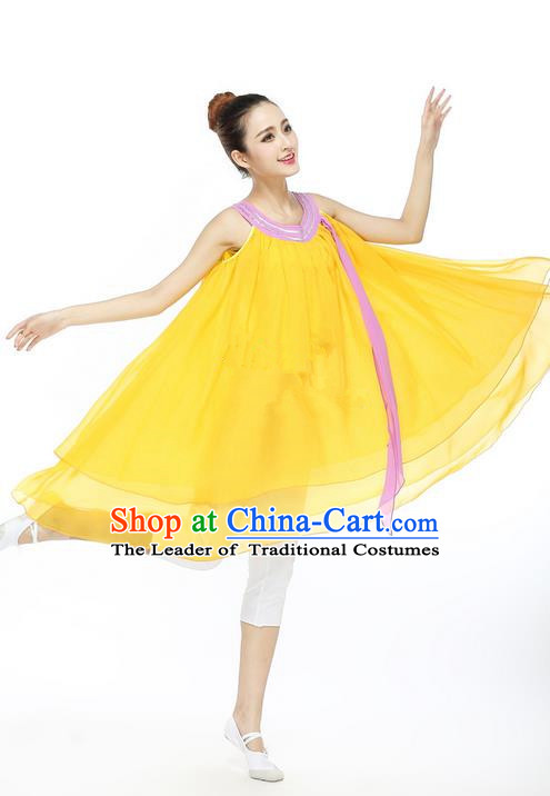 Traditional Modern Dancing Compere Costume, Female Opening Classic Chorus Singing Group Dance Yellow Blouse and Pants Dancewear, Modern Dance Dress Classic Ballet Dance Elegant Clothing for Women