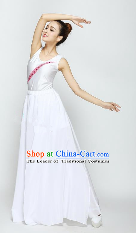Traditional Modern Dancing Compere Costume, Female Opening Classic Chorus Singing Group Dance White Dancewear, Modern Dance Dress Classic Latin Dance Elegant Clothing for Women
