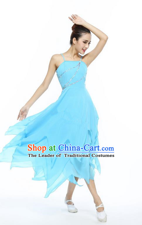 Traditional Modern Dancing Compere Costume, Female Opening Classic Chorus Singing Group Dance Blue Ballet Dancewear, Modern Dance Dress Classic Latin Dance Elegant Clothing for Women