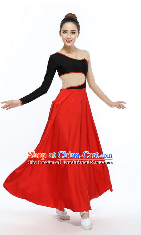Traditional Modern Dancing Compere Costume, Female Opening Classic Chorus Singing Group Dance Red Ballet Dancewear, Modern Dance Dress Classic Latin Dance Elegant Clothing for Women